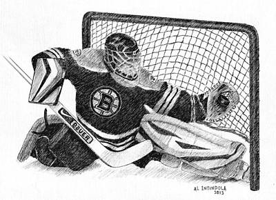 Drawing - Goalie by Al Intindola