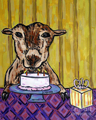 Painting - Goat At The Birthday Party by Jay  Schmetz