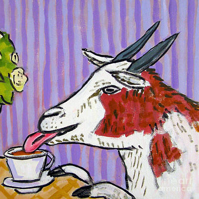 Painting - Goat At The Cafe by Jay  Schmetz