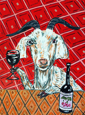 Painting - Goat At The Wine Tasting by Jay  Schmetz
