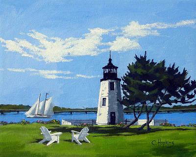 Shell Beach Inn Painting - Goat Island Lighthouse Newport Rhode Island by Christine Hopkins