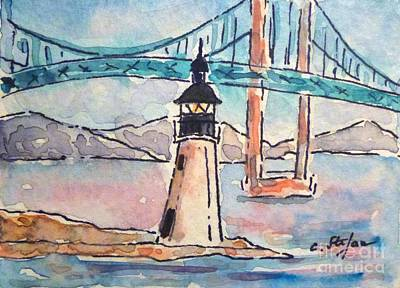Painting - Goat Island Lighthouse - Ri - Usa - Watercolor by Cristina Stefan