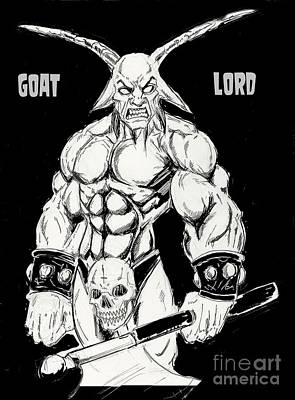 Baphomet Drawing - Goat Lord by Alaric Barca