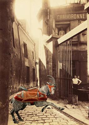 Goat On Passage De La Reunion Paris Collage Art Print