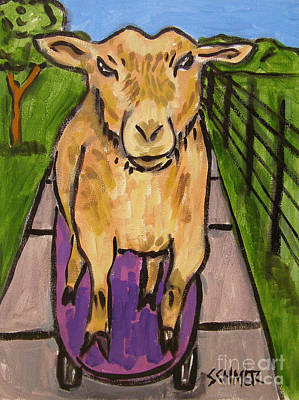 Painting - Goat Skateboarding by Jay  Schmetz