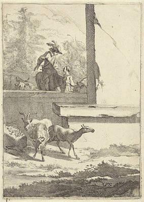 Fence Drawing - Goats And One Rider At A Wall, Jan De Visscher by Jan De Visscher And Nicolaes Pietersz. Berchem