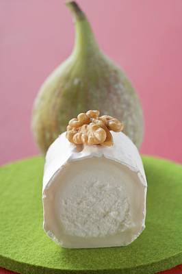 Goat's Cheese With Walnut, Fig In Background Art Print
