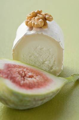 Goat's Cheese With Walnut, Half A Fig In Foreground Art Print