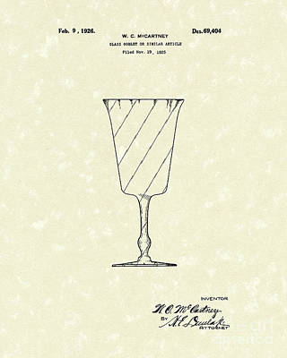 Glass Art Drawing - Goblet 1926 Patent Art by Prior Art Design