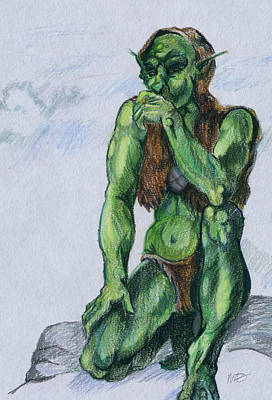 Art Print featuring the drawing Goblin by Michele Engling