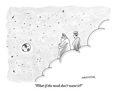 Bible Drawing - God And An Angel Stand On A Cloud Floating by Mick Stevens