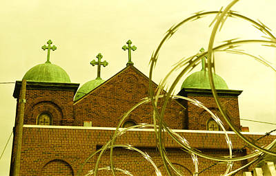 Absurdity Photograph - God And Razor Wire by James Rasmusson
