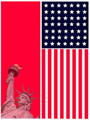 Green Digital Art - God Bless America by Celestial Images