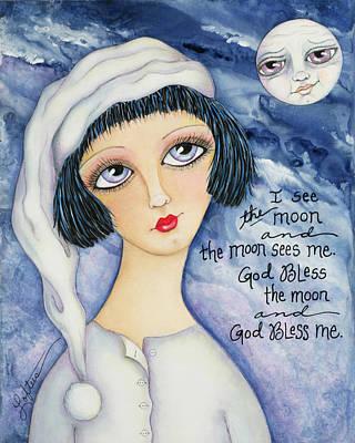 Man In The Moon Mixed Media - God Bless Me by Joann Loftus