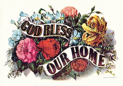 God Bless Our Home Art Print by Currier and Ives