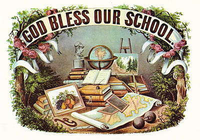 God Bless Our School Print by Currier and Ives