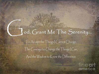 God Grant Me The Serenity Nature Scene Art Print by Adri Turner