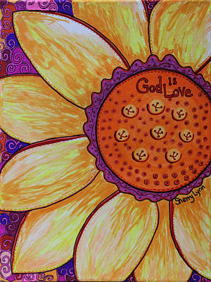 Sunflower Drawing - God Is Love by Sherry Lynn
