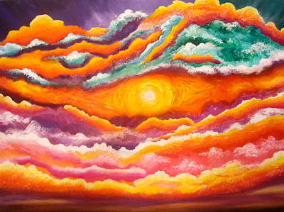 Oneness Painting - God Light All Around by Sister Rebecca Shinas