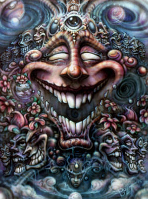 Evil Clown Painting - God Of Laughter by David Bollt