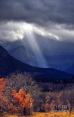 Photograph - God Rays Over Many Glacier by Deby Dixon