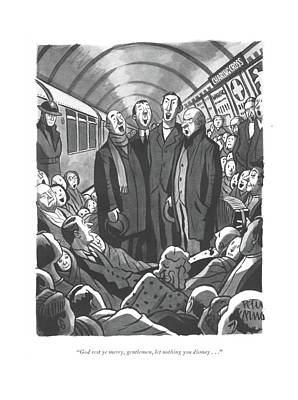 London Tube Drawing - God Rest Ye Merry by Peter Arno