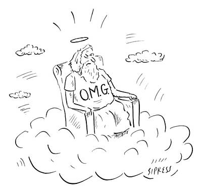 O Drawing - God Sits On A Throne Wearing A Shirt Reading by David Sipress