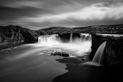 White And Black Waterfalls Photograph - Godafoss by Dave Bowman