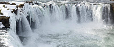 Cold Temperature Photograph - Godafoss Waterfall In Winter, Iceland by Panoramic Images