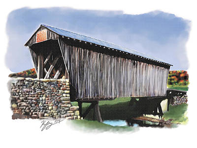 Covered Bridge Painting - Goddard Covered Bridge Watercolor by Kyle Gray