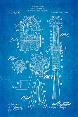 Rocket Science Photograph - Goddard Rocket Apparatus Patent Art 1914 Blueprint by Ian Monk