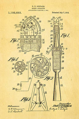 Rocket Science Photograph - Goddard Rocket Apparatus Patent Art 1914 by Ian Monk