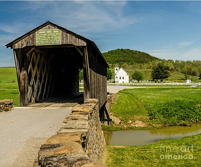Photograph - Goddard White Bridge And Church by Mary Carol Story