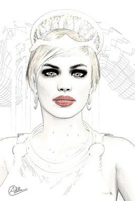 Hera Drawing - Goddess Hera by Quim Abella