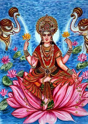 Hindu Goddess Painting - Goddess Lakshmi by Harsh Malik