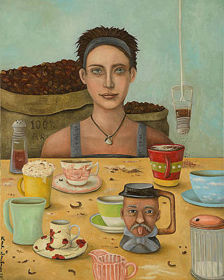 Addict Painting - Goddess Of Coffee by Leah Saulnier The Painting Maniac