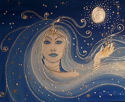 Silver Moonlight Painting - Goddess Of Night by Angie Livingstone