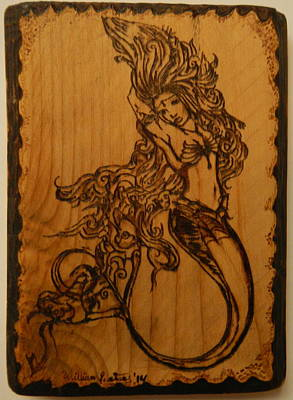 Pyrography On Wood Pyrography - Goddess Of The Deep by William Waters
