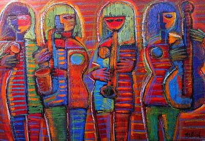 Cardboard Mixed Media - Goddess's Of Music Bring Us Jazz by Gerry High