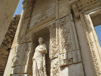 Godess Statue At The Library Of Celsius Ephesus Art Print by Cimorene Photography