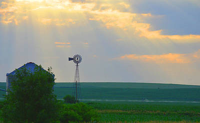 God's Light Over Windmill Art Print by Renie Rutten