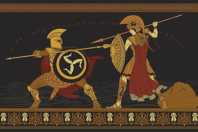 Athena Digital Art - Gods Of War by Matthew Kocvara