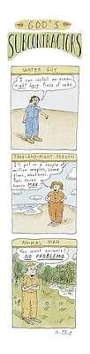 Suburban Drawing - God's Subcontractors: Water Guy by Roz Chast
