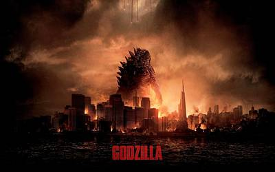 Cabin Wall Digital Art - Godzilla 2014 by Movie Poster Prints