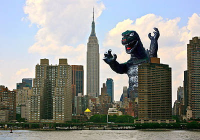 Manga Photograph - Godzilla And The Empire State Building by William Patrick
