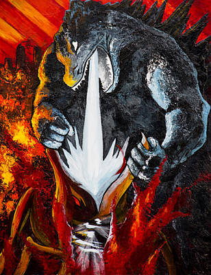Atomic Mixed Media - Godzilla Destroying Muto by Paul Regalado