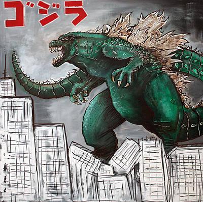 Monster Painting - Godzilla Gojira by Laura Barbosa