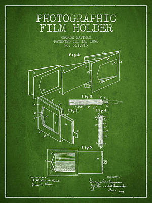 Camera Digital Art - George Eastman Film Holder Patent From 1896 - Green by Aged Pixel