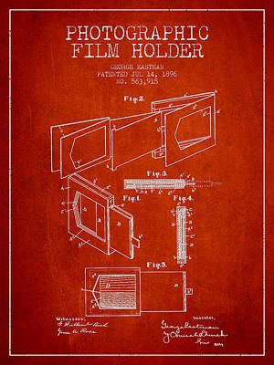 George Eastman Film Holder Patent From 1896 - Red Art Print