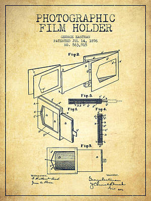 Camera Digital Art - George Eastman Film Holder Patent From 1896 - Vintage by Aged Pixel